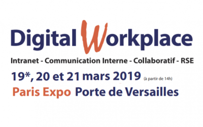 3e MONDE animera 2 ateliers lors du salon Digital Workplace à Paris les 19, 20 et 21 mars 2019